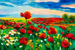 an oil painting of red poppy flowers